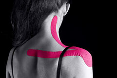 Medical taping. For trapezium muscle Royalty Free Stock Photos
