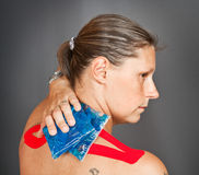 A medical taping. A woman with medical taping Royalty Free Stock Photo