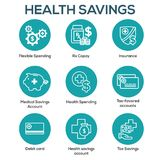 Medical Tax Savings - Health savings account or flexible spending account has HSA, FSA, tax-sheltered savings. Medical Tax Savings w Health savings account or vector illustration