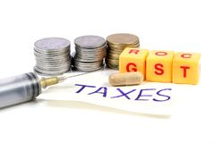 Medical taxes. Concept shot of taxes on medicine Royalty Free Stock Images