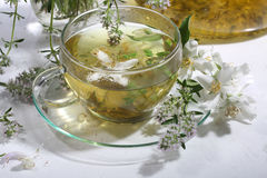 Medical tea with fragrant grasses and mint in a transparent cup Stock Photo