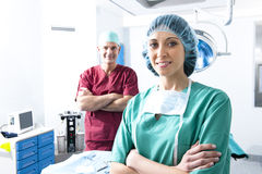 Medical Team. Portrait of a medical team inside operating room Stock Photos