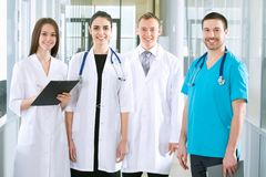 Medical team. Team of doctors at a hospital Stock Image