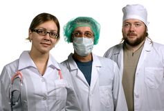 Medical team. Image about three colleagues - doctors in hospital Royalty Free Stock Photography