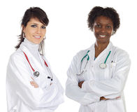 Medical team. A over white background Royalty Free Stock Photos