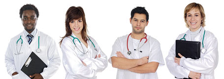 Medical team. A over white background Stock Photography