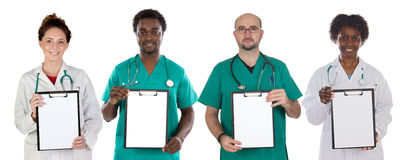 Medical team with clipboard in blank Stock Photography