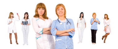 Medical team concept. Nursed and doctors over white Stock Photo