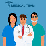 Medical team concept, physician, doctor, nurse, vector illustration Royalty Free Stock Image
