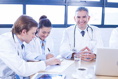 Medical team discussing in meeting Royalty Free Stock Photo