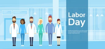 Medical Team Doctor Group Labor Day May Holiday. Medical Team Doctor Group Labor Day 1 May Holiday Flat Vector Illustration stock illustration