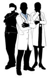 Medical team doctor silhouettes Royalty Free Stock Photography