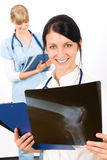Medical team doctor woman young nurse smiling Stock Images