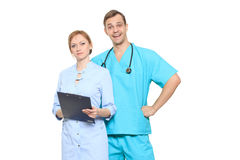 Medical team of doctors, man and woman, isolated on white Royalty Free Stock Photography