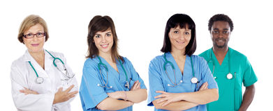 Medical team of four doctors Stock Photos