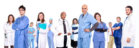 Medical team. Isolated in white stock images