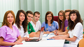 Medical team. A medical team meeting in the hospital royalty free stock images