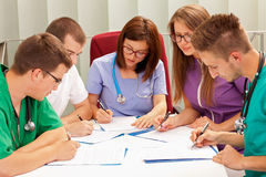 Medical team. A medical team meeting in the hospital stock photography
