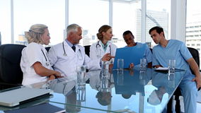 Medical team during a meeting stock video footage