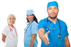 Medical team people handshake Stock Photos