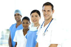 Multi ethnic medical Team. Portrait of multi ethnic medical people standing in a row Stock Images
