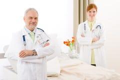 Medical team - portrait two doctor hospital Stock Images