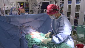 Medical team prepares to begin surgery. Scene from a typical hospital stock video footage
