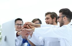 Medical team showing their success. Photo with copy space Royalty Free Stock Photo