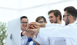 Medical team showing their success. Photo with copy space Stock Photography