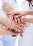 Medical team stacking hands. Doctors and nurses in a medical team stacking hands in a show of cooperation and solidarity isolated on white Stock Images