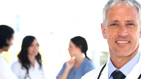 Medical team standing upright together Royalty Free Stock Photo