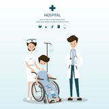 Medical team to assist male patients on wheelchairs. Stock Photo