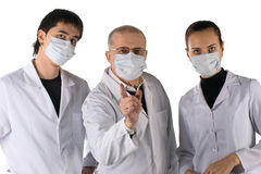Medical team warns. A medical team warns about a flu pandemic. On white background Royalty Free Stock Photos