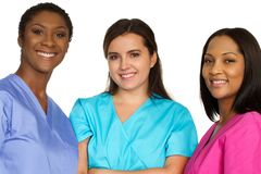 Diverse group of healthcare providers. Diverse group of medical team of women royalty free stock images