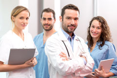 Medical team working at the hospital all together Royalty Free Stock Photos