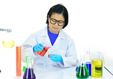 Medical technologist in laboratory. Asian female medical technologist working in laboratory Royalty Free Stock Images