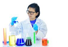 Medical technologist in laboratory. Asian female medical technologist working in laboratory Stock Photo