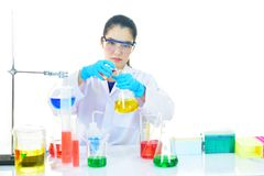 Medical technologist working in laboratory. Asian female medical technologist working with chemical in research laboratory Stock Photos