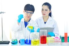 Medical technologist working in laboratory. Asian female medical technologist working in research laboratory Royalty Free Stock Photography