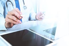 Medical technology concept. Doctor hand working with modern digi Royalty Free Stock Images