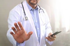 Medical technology concept. Doctor hand working with modern smar Royalty Free Stock Photo