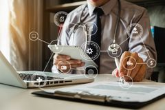 Medical technology concept. Doctor working stock photos