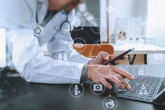 Medical technology concept. Doctor working with smart phone and royalty free stock photos