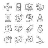 Medical Technology line icon set. Included the icons as online doctor nano capsule, nano robot, clone, digital brain and more. Stock Photography