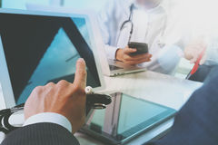 Medical technology network team meeting concept. Doctor hand wor Royalty Free Stock Image