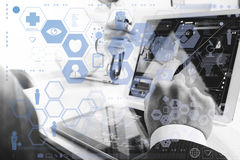 Medical technology network team meeting concept. Doctor hand wor Stock Photos