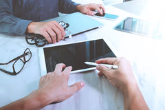Medical technology network team meeting concept. Doctor hand working smart phone modern digital tablet laptop computer medical ch royalty free stock images