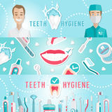 Medical teeth hygiene infographic web banner Royalty Free Stock Photography