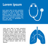 Medical template design  with images of human lungs and stethoscope Stock Photo