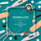 Medical template with medicine equipment Royalty Free Stock Images